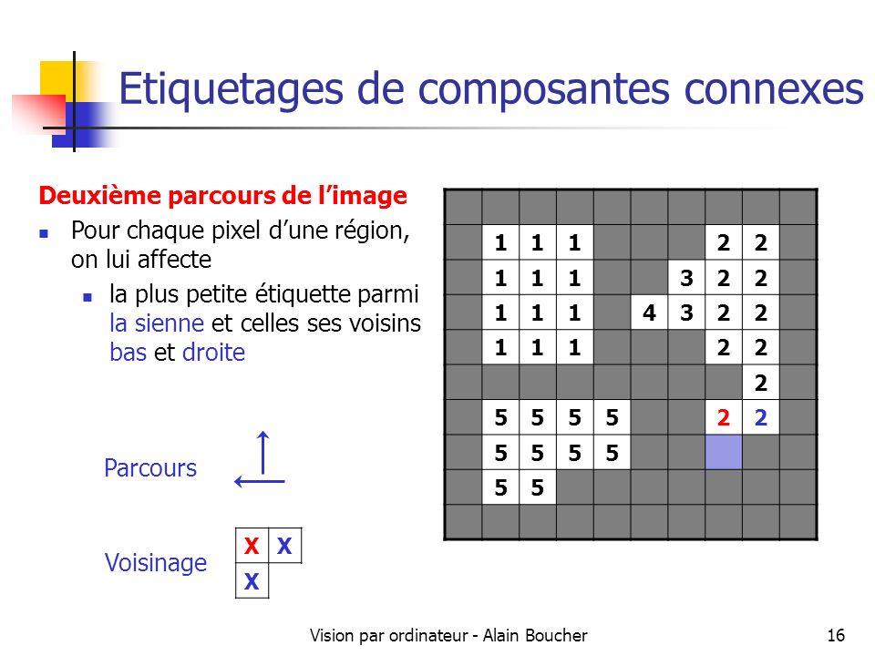 Vision par ordinateur - Alain Boucher16 Etiquetages de composantes connexes 11122 111322 1114322 11122 2 555522 5555 55 Deuxième parcours de limage Po