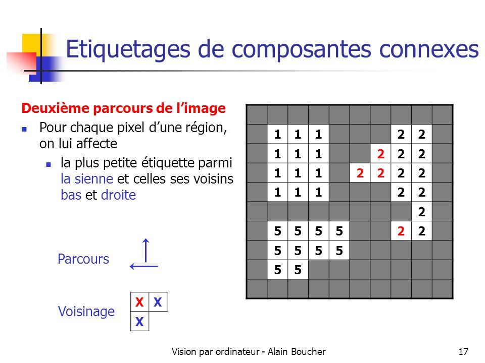 Vision par ordinateur - Alain Boucher17 Etiquetages de composantes connexes 11122 111222 1112222 11122 2 555522 5555 55 Deuxième parcours de limage Po