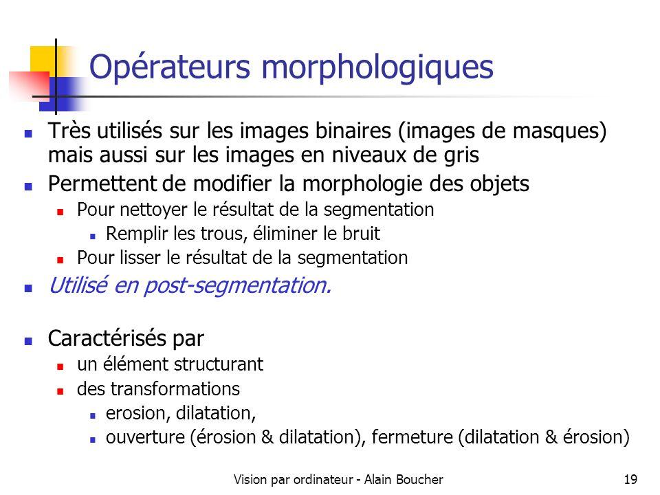 Vision par ordinateur - Alain Boucher19 Opérateurs morphologiques Très utilisés sur les images binaires (images de masques) mais aussi sur les images