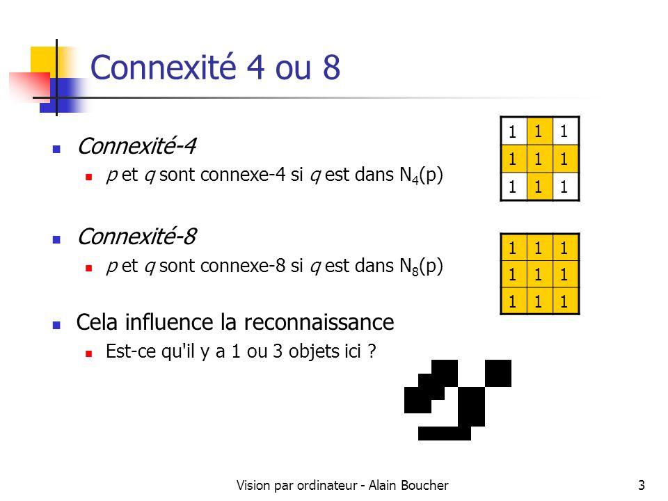 Vision par ordinateur - Alain Boucher14 Etiquetages de composantes connexes 11122 111322 1114322 11122 2 555562 5555 55 Premier parcours de limage Pour chaque pixel dune région, on lui affecte soit la plus petite étiquette parmi ses voisins haut et gauche soit une nouvelle étiquette.