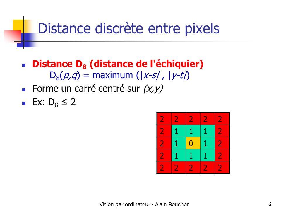Vision par ordinateur - Alain Boucher17 Etiquetages de composantes connexes 11122 111222 1112222 11122 2 555522 5555 55 Deuxième parcours de limage Pour chaque pixel dune région, on lui affecte la plus petite étiquette parmi la sienne et celles ses voisins bas et droite Parcours Voisinage XX X