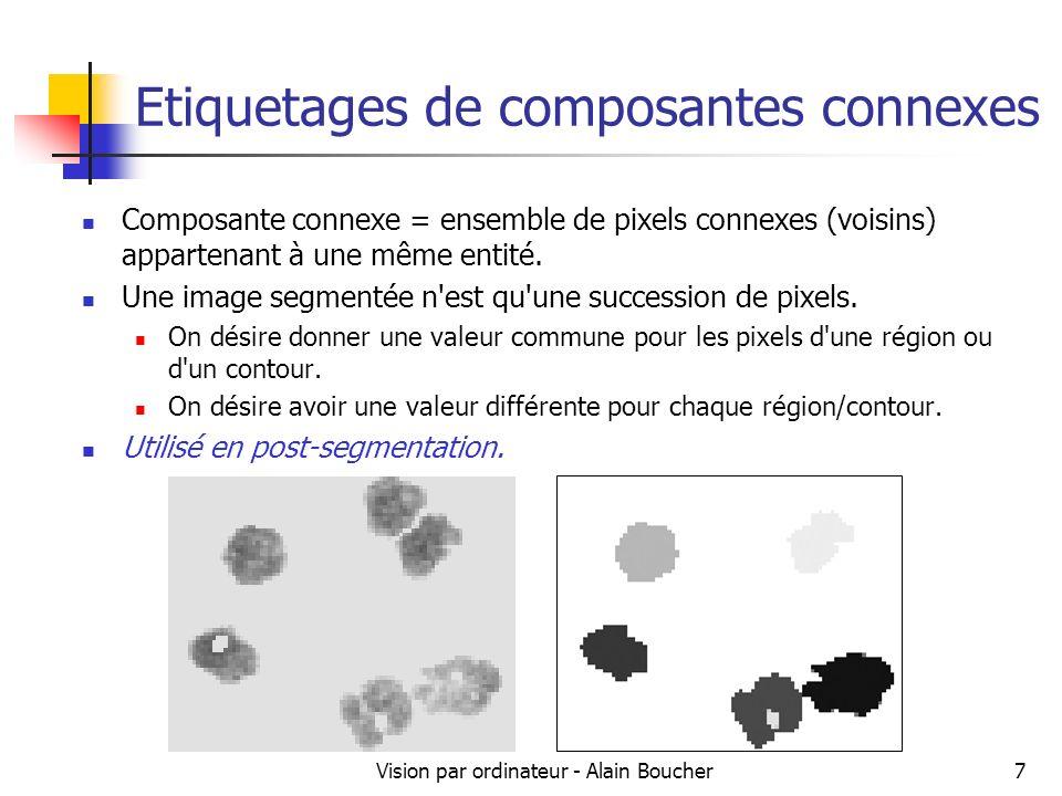 Vision par ordinateur - Alain Boucher8 Etiquetages de composantes connexes Fond Objets segmentés Nous allons effectuer un parcours de limage pour affecter un numéro unique (étiquette) pour chaque région.