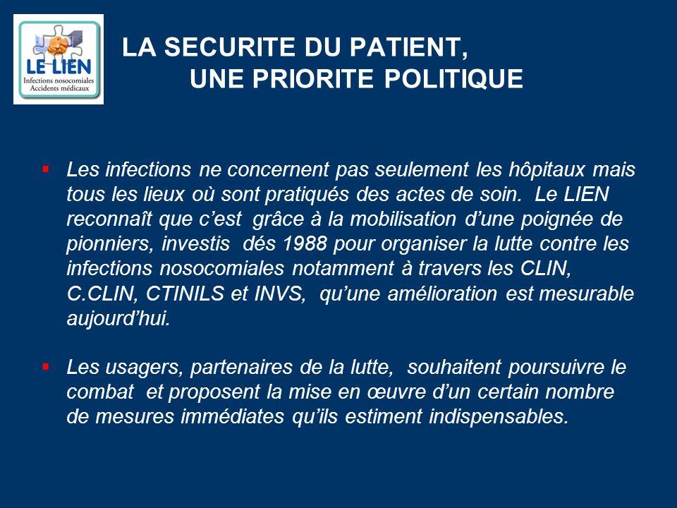 LA SECURITE DU PATIENT, UNE PRIORITE POLITIQUE Les infections ne concernent pas seulement les hôpitaux mais tous les lieux où sont pratiqués des actes de soin.