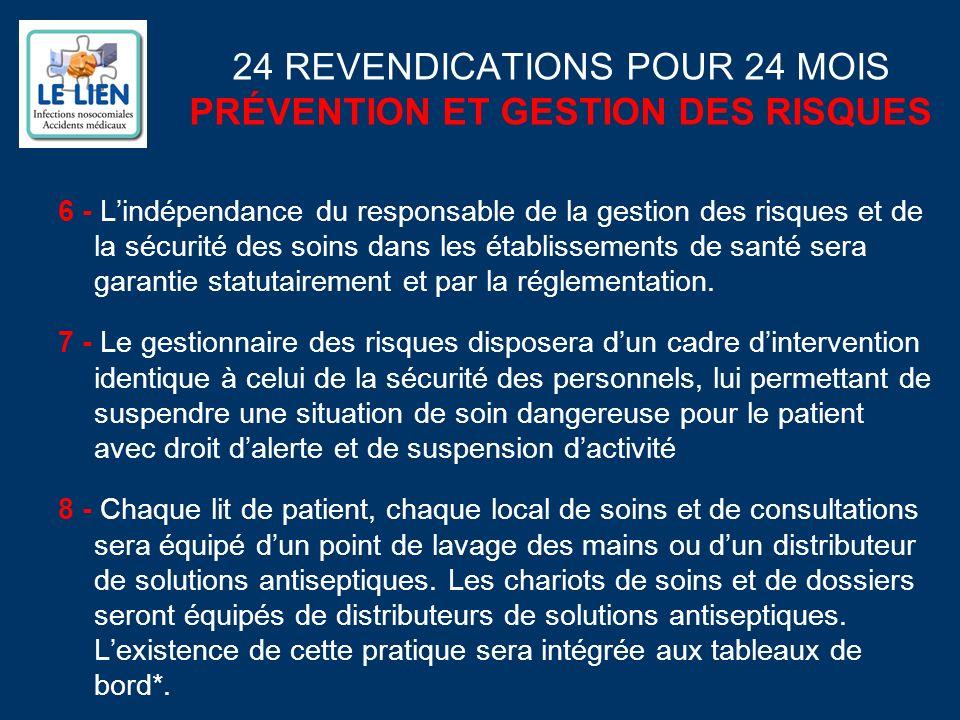 24 REVENDICATIONS POUR 24 MOIS PRÉVENTION ET GESTION DES RISQUES 6 - Lindépendance du responsable de la gestion des risques et de la sécurité des soins dans les établissements de santé sera garantie statutairement et par la réglementation.