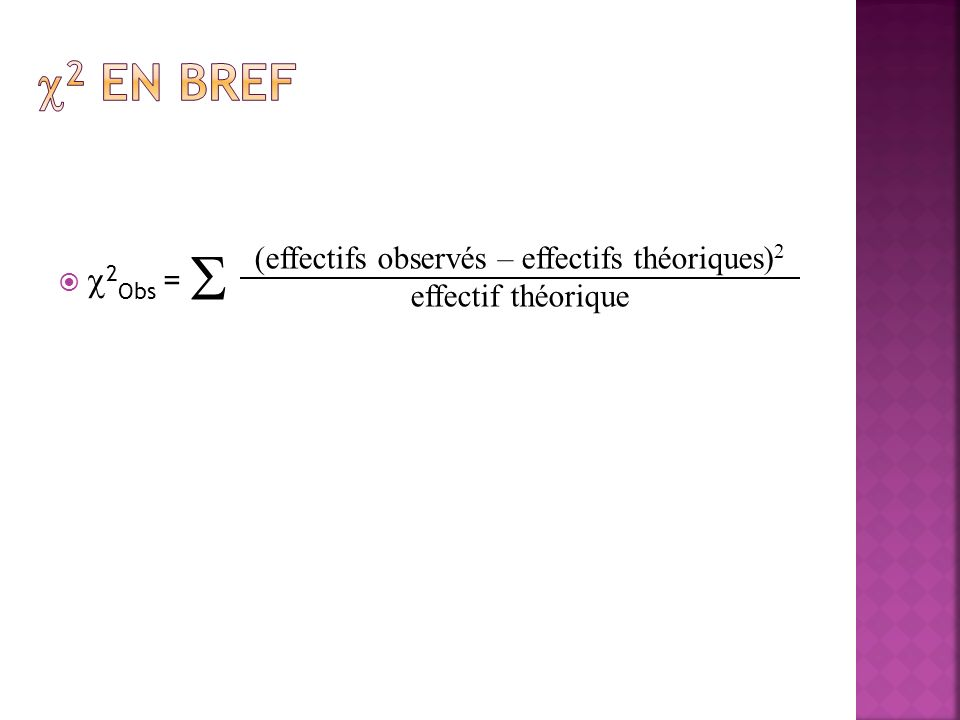 2 Obs = (effectifs observés – effectifs théoriques) 2 effectif théorique