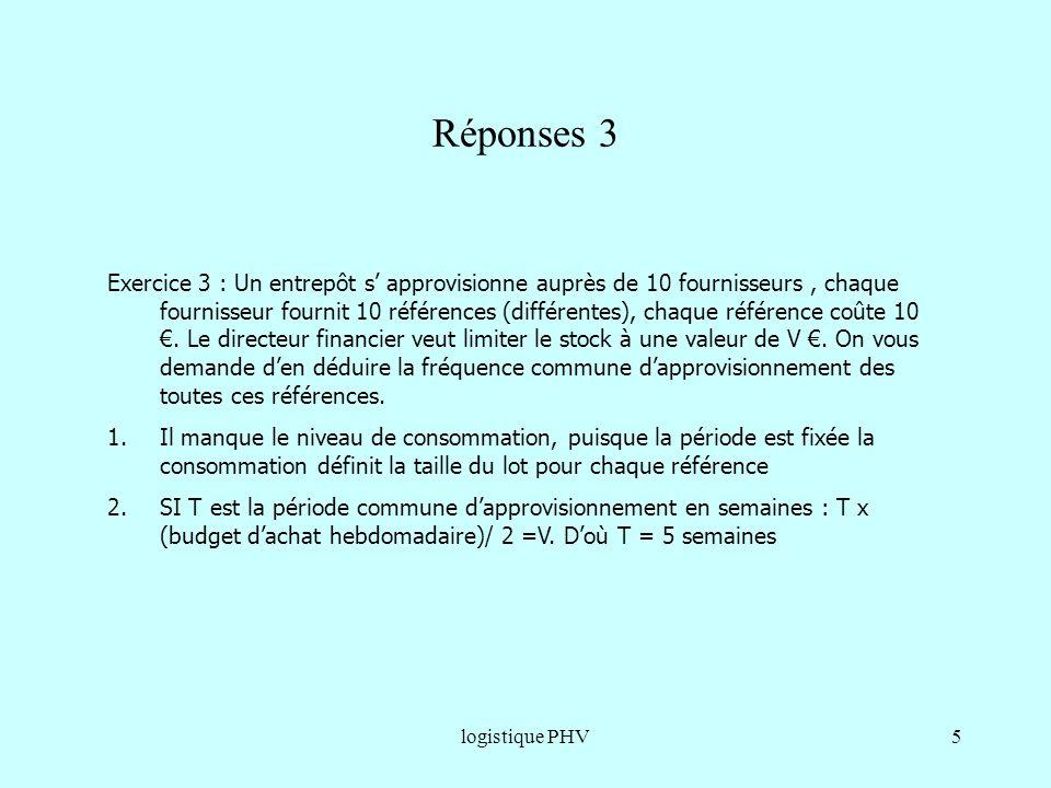 logistique PHV5 Réponses 3 Exercice 3 : Un entrepôt s approvisionne auprès de 10 fournisseurs, chaque fournisseur fournit 10 références (différentes),