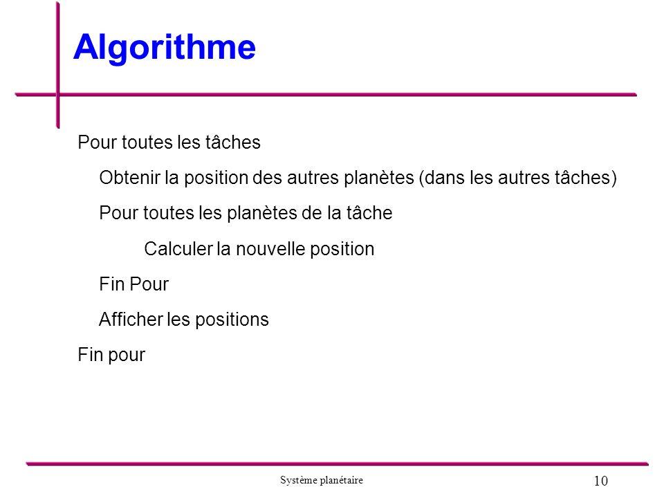 10 Système planétaire Algorithme Pour toutes les tâches Obtenir la position des autres planètes (dans les autres tâches) Pour toutes les planètes de la tâche Calculer la nouvelle position Fin Pour Afficher les positions Fin pour