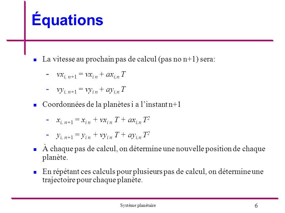 6 Système planétaire Équations La vitesse au prochain pas de calcul (pas no n+1) sera: - - vx i, n+1 = vx i n + ax i,n T - - vy i, n+1 = vy i n + ay i,n T Coordonnées de la planètes i a linstant n+1 - - x i, n+1 = x i n + vx i n T + ax i,n T 2 - - y i, n+1 = y i n + vy i n T + ay i,n T 2 À chaque pas de calcul, on détermine une nouvelle position de chaque planète.