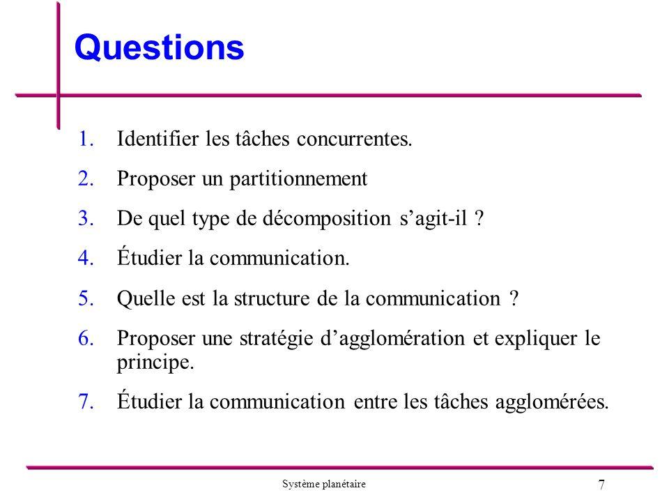 7 Système planétaire Questions 1.1.Identifier les tâches concurrentes.