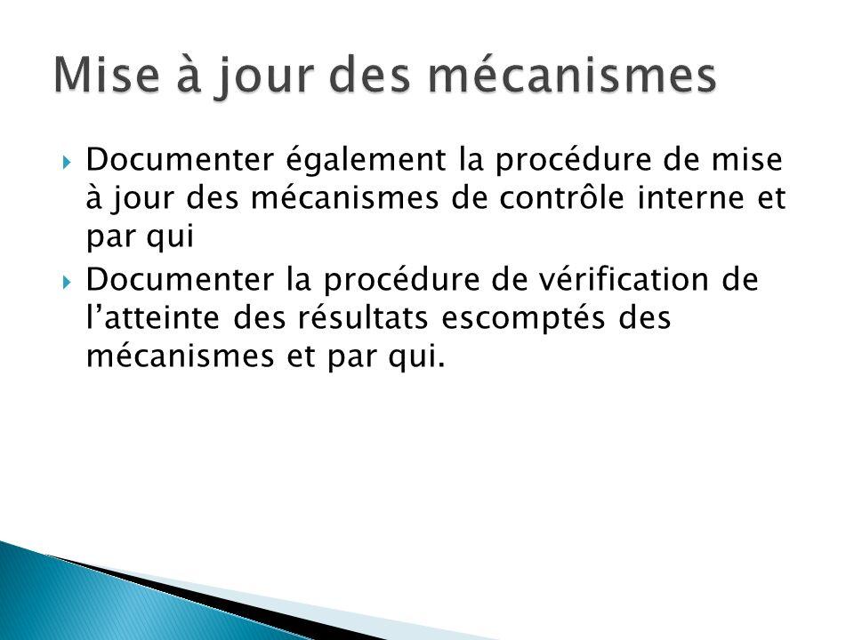 Documenter également la procédure de mise à jour des mécanismes de contrôle interne et par qui Documenter la procédure de vérification de latteinte de