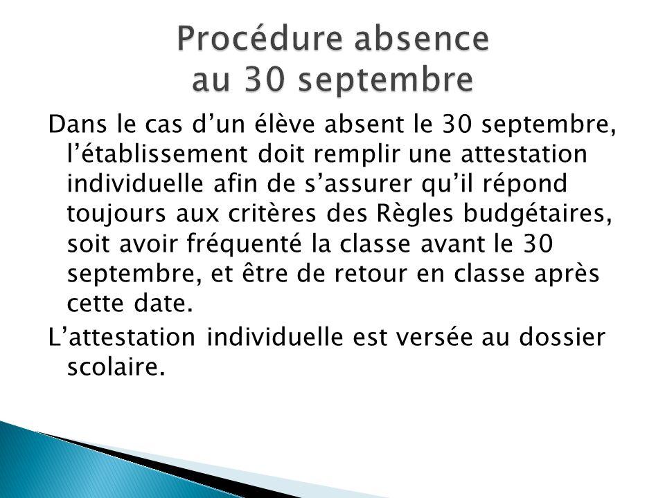 Dans le cas dun élève absent le 30 septembre, létablissement doit remplir une attestation individuelle afin de sassurer quil répond toujours aux critè