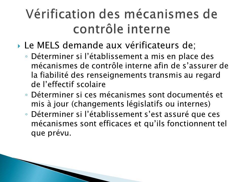 Le MELS demande aux vérificateurs de; Déterminer si létablissement a mis en place des mécanismes de contrôle interne afin de sassurer de la fiabilité