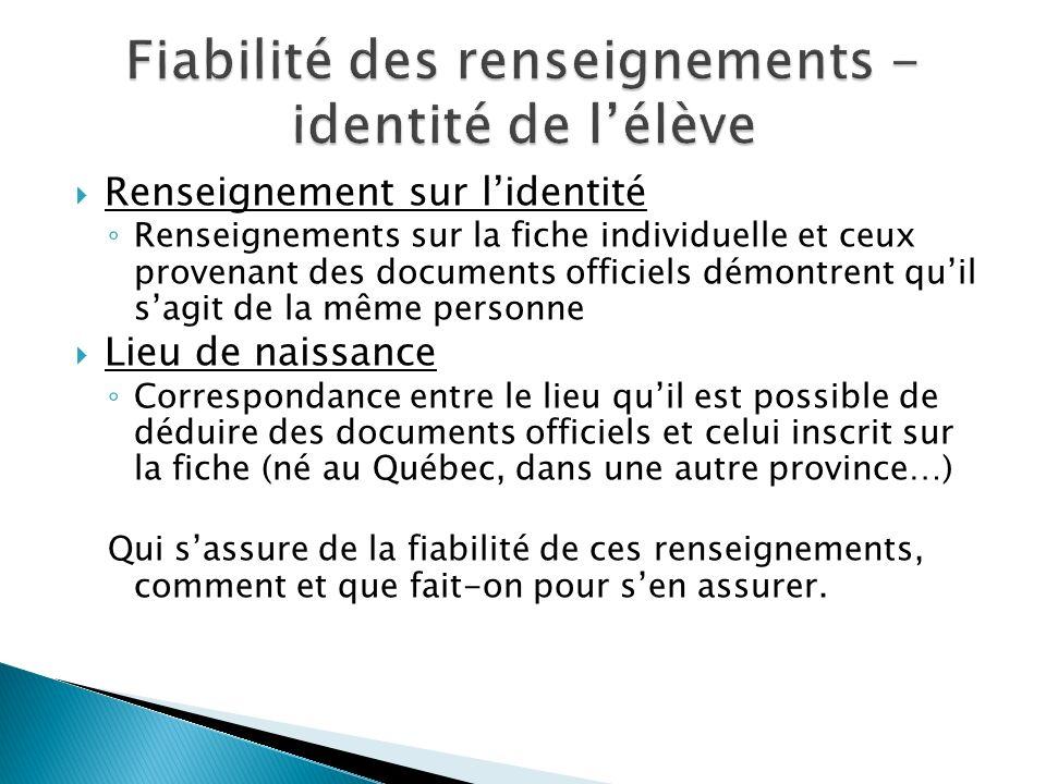 Renseignement sur lidentité Renseignements sur la fiche individuelle et ceux provenant des documents officiels démontrent quil sagit de la même person