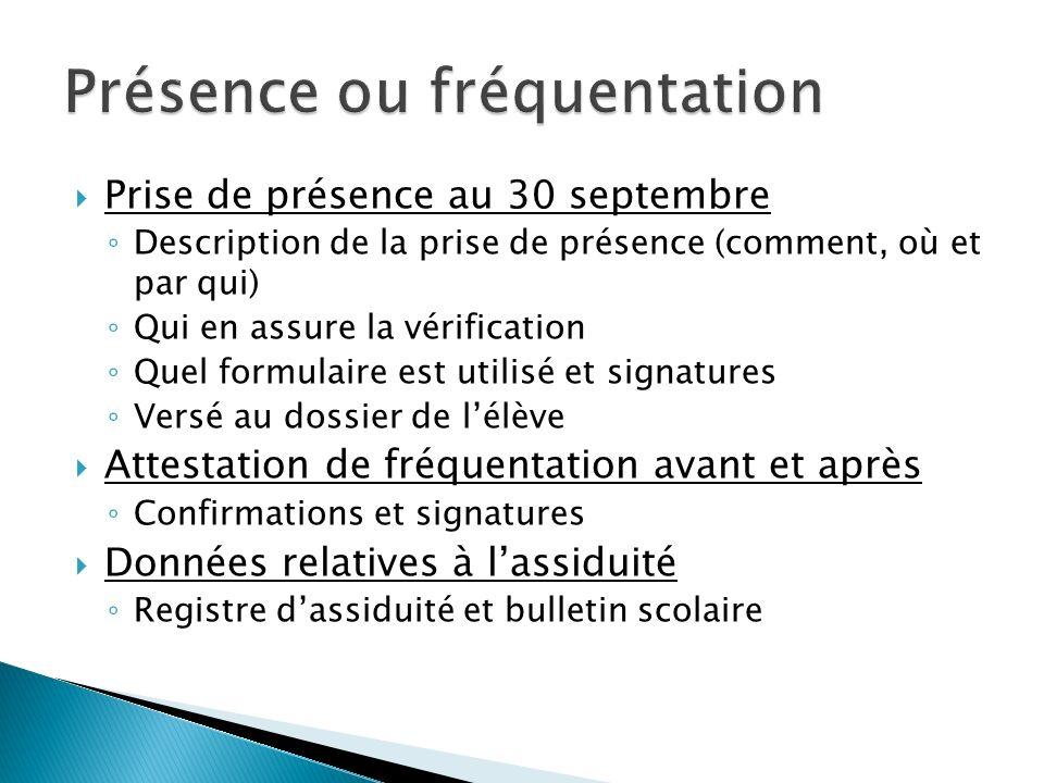 Prise de présence au 30 septembre Description de la prise de présence (comment, où et par qui) Qui en assure la vérification Quel formulaire est utili