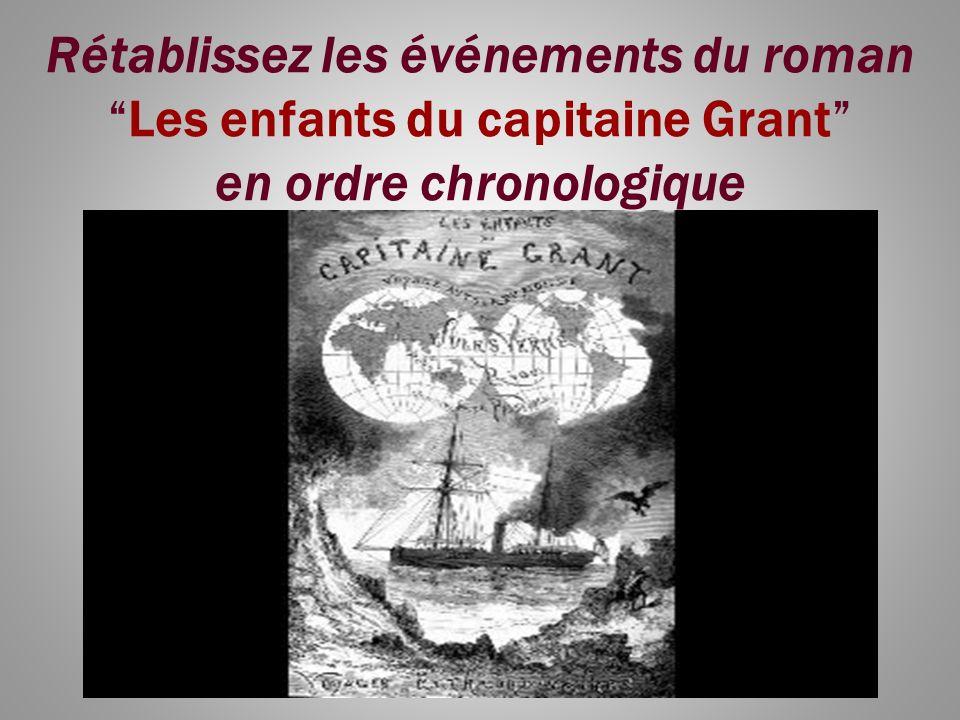 Rétablissez les événements du romanLes enfants du capitaine Grant en ordre chronologique