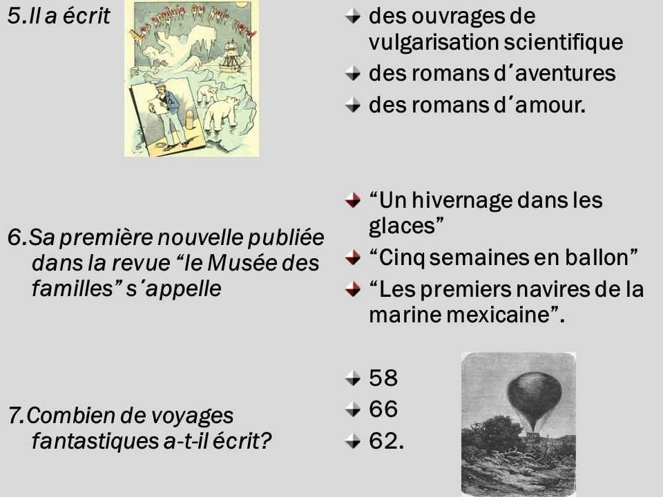 5.Il a écrit 6.Sa première nouvelle publiée dans la revue le Musée des familles s ΄ appelle 7.Combien de voyages fantastiques a-t-il écrit.