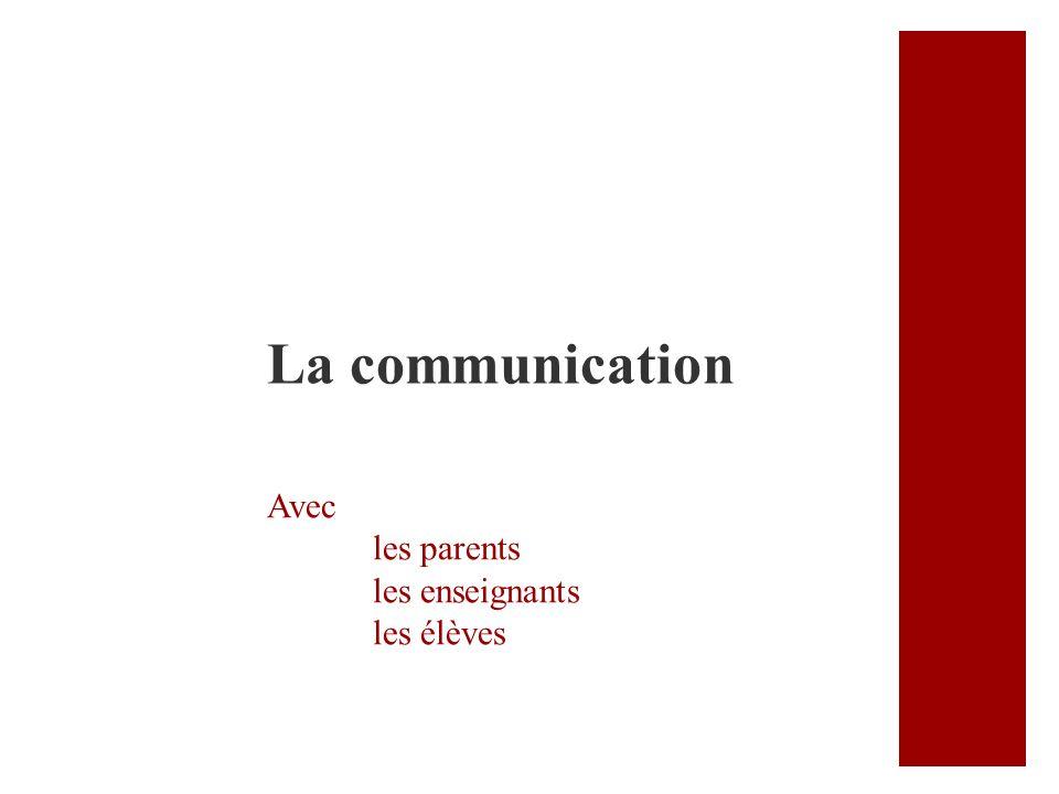 Avec les parents les enseignants les élèves La communication