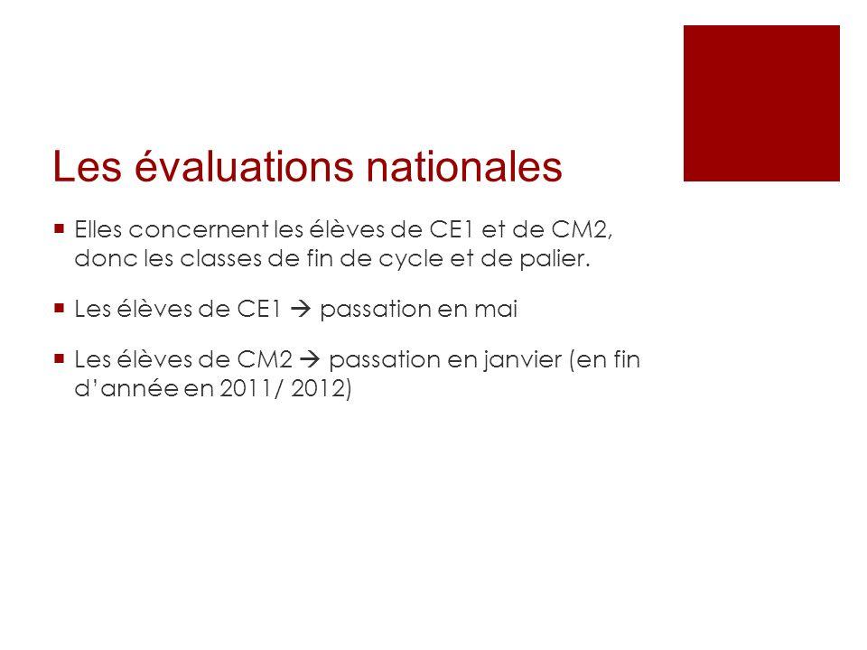Les évaluations nationales Elles concernent les élèves de CE1 et de CM2, donc les classes de fin de cycle et de palier. Les élèves de CE1 passation en