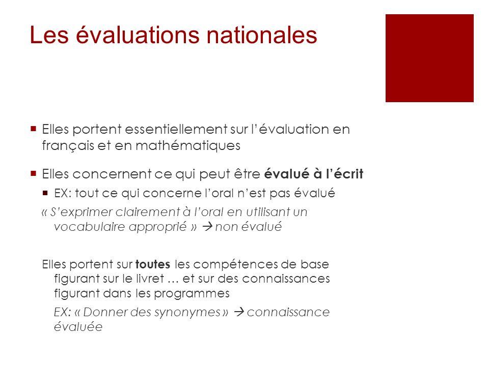 Les évaluations nationales Elles portent essentiellement sur lévaluation en français et en mathématiques Elles concernent ce qui peut être évalué à lé