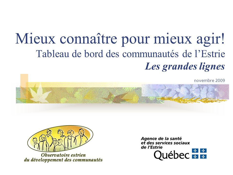 Mieux connaître pour mieux agir! Tableau de bord des communautés de lEstrie Les grandes lignes novembre 2009