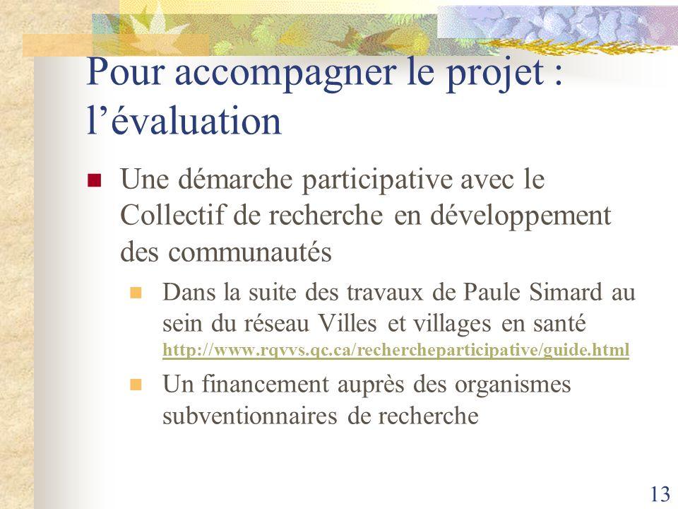 13 Pour accompagner le projet : lévaluation Une démarche participative avec le Collectif de recherche en développement des communautés Dans la suite d