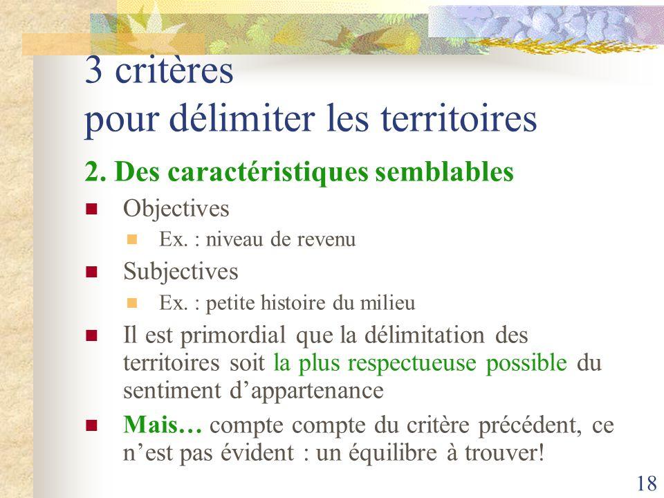 18 3 critères pour délimiter les territoires 2. Des caractéristiques semblables Objectives Ex. : niveau de revenu Subjectives Ex. : petite histoire du