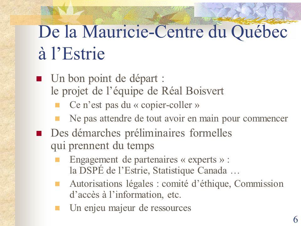 6 De la Mauricie-Centre du Québec à lEstrie Un bon point de départ : le projet de léquipe de Réal Boisvert Ce nest pas du « copier-coller » Ne pas att