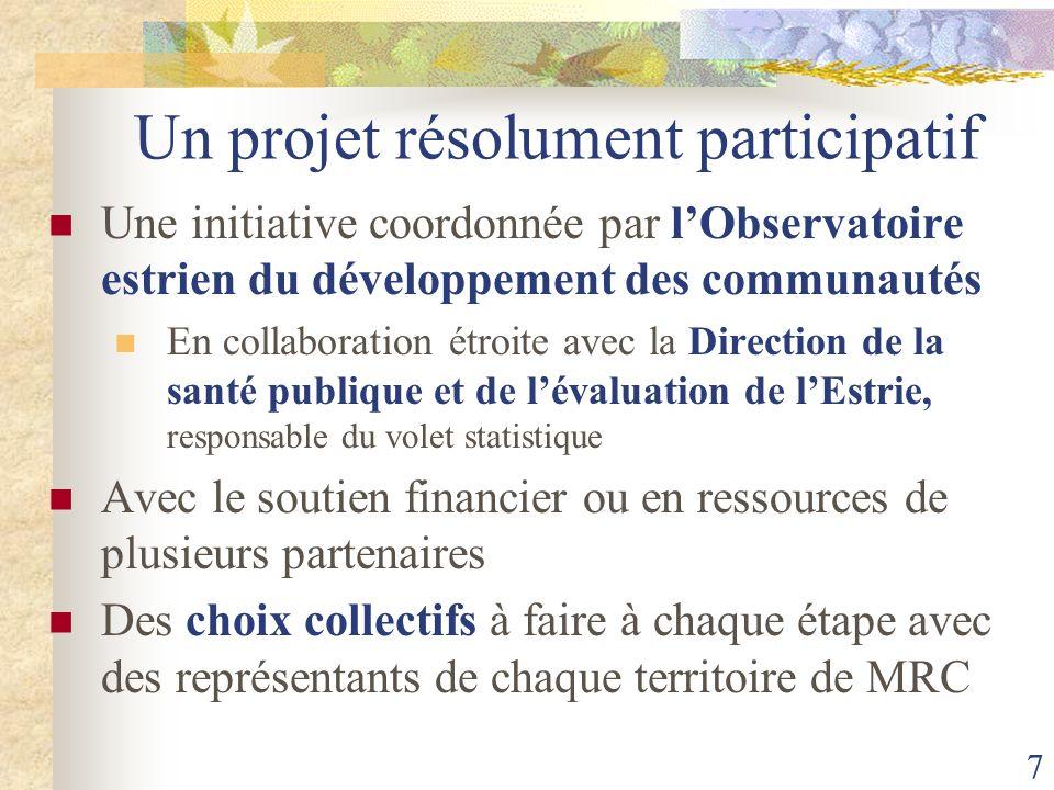 7 Un projet résolument participatif Une initiative coordonnée par lObservatoire estrien du développement des communautés En collaboration étroite avec