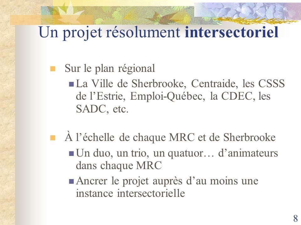 8 Un projet résolument intersectoriel Sur le plan régional La Ville de Sherbrooke, Centraide, les CSSS de lEstrie, Emploi-Québec, la CDEC, les SADC, e