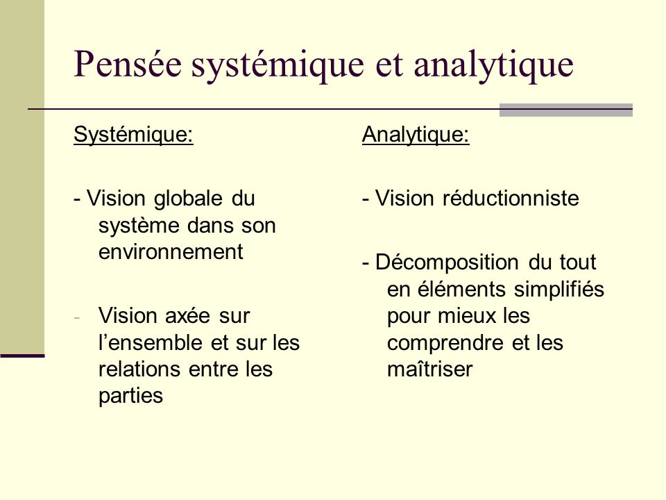 Pensée systémique et analytique Systémique: - Vision globale du système dans son environnement - Vision axée sur lensemble et sur les relations entre