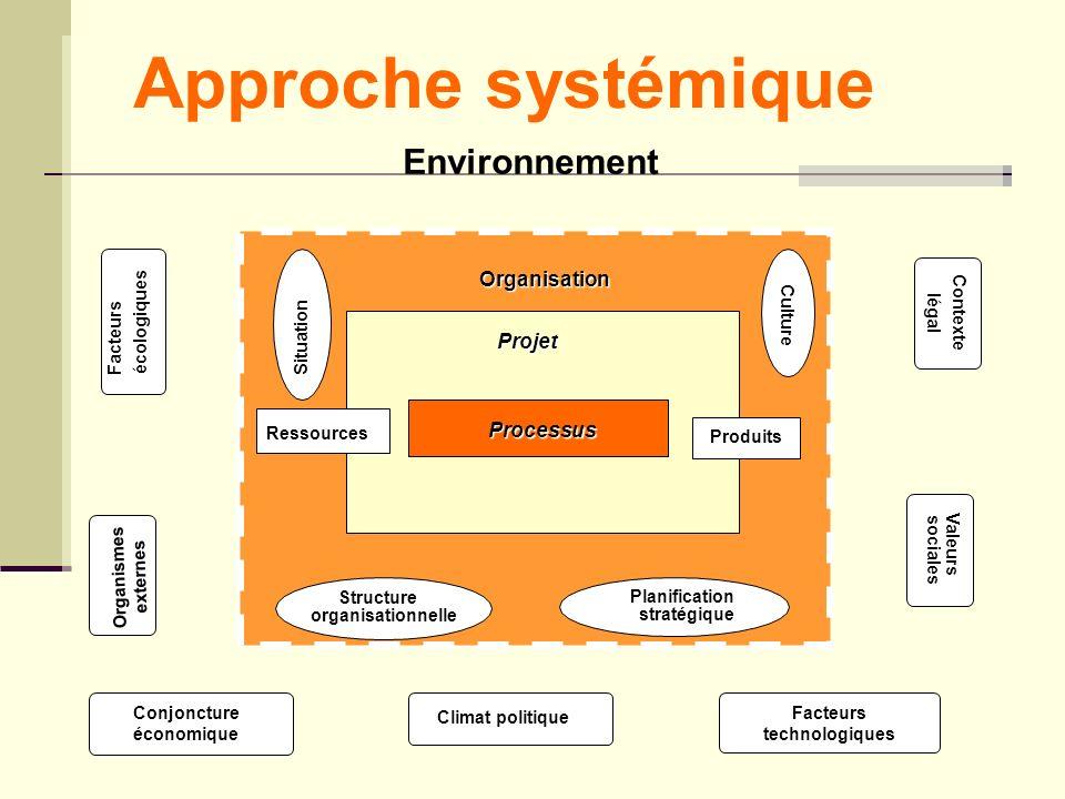 Organisation Facteurs écologiques Processus Projet Organismes externes Facteurs technologiques Contexte légal Valeurs sociales Conjoncture économique