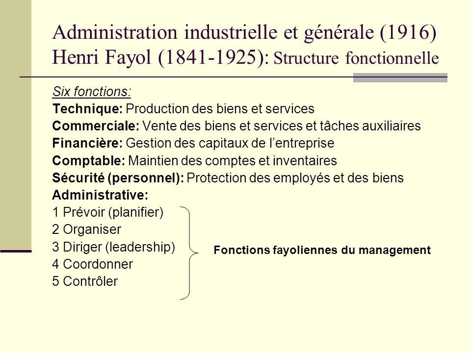 Administration industrielle et générale (1916) Henri Fayol (1841-1925): Structure fonctionnelle Six fonctions: Technique: Production des biens et serv