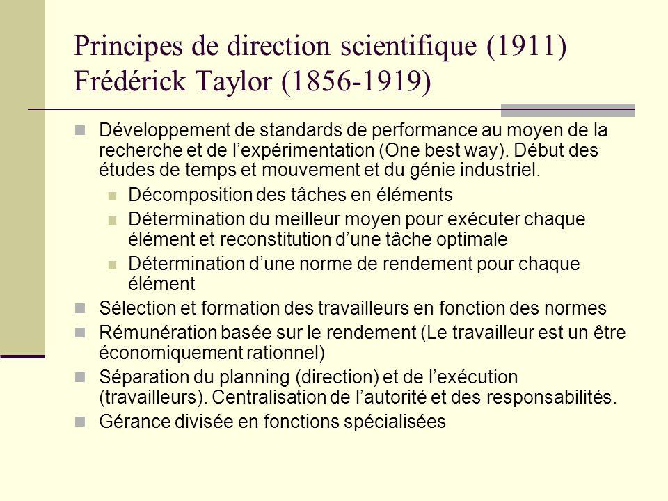 Principes de direction scientifique (1911) Frédérick Taylor (1856-1919) Développement de standards de performance au moyen de la recherche et de lexpé