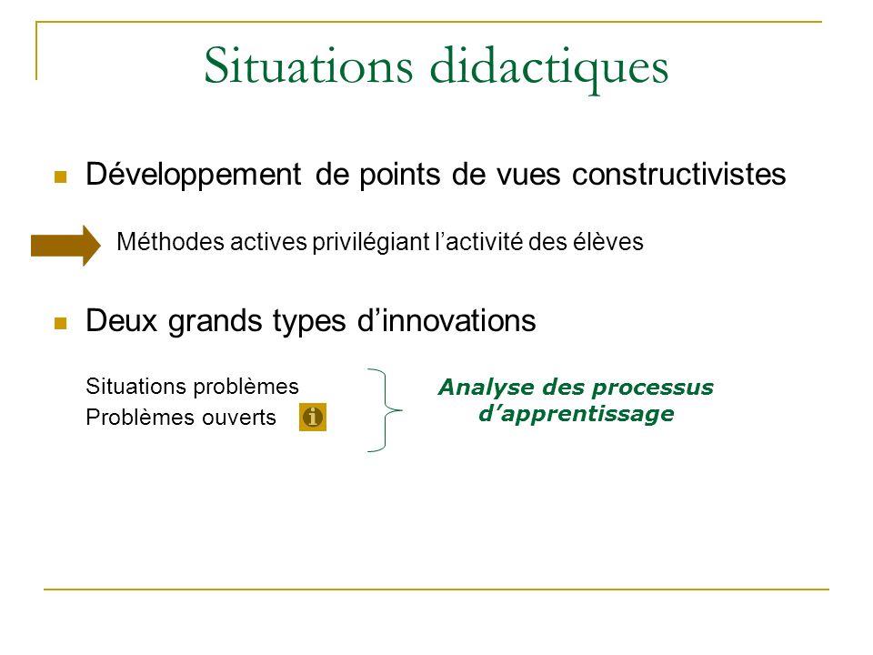 Situations didactiques Développement de points de vues constructivistes Méthodes actives privilégiant lactivité des élèves Deux grands types dinnovati