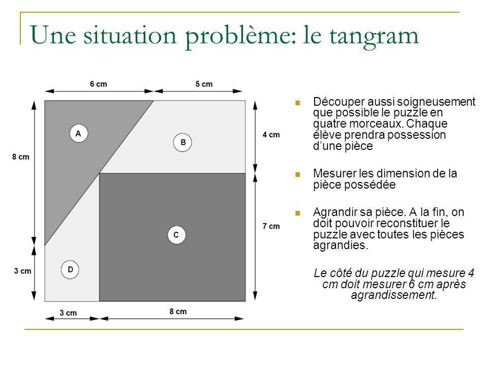 Une situation problème: le tangram Découper aussi soigneusement que possible le puzzle en quatre morceaux. Chaque élève prendra possession dune pièce