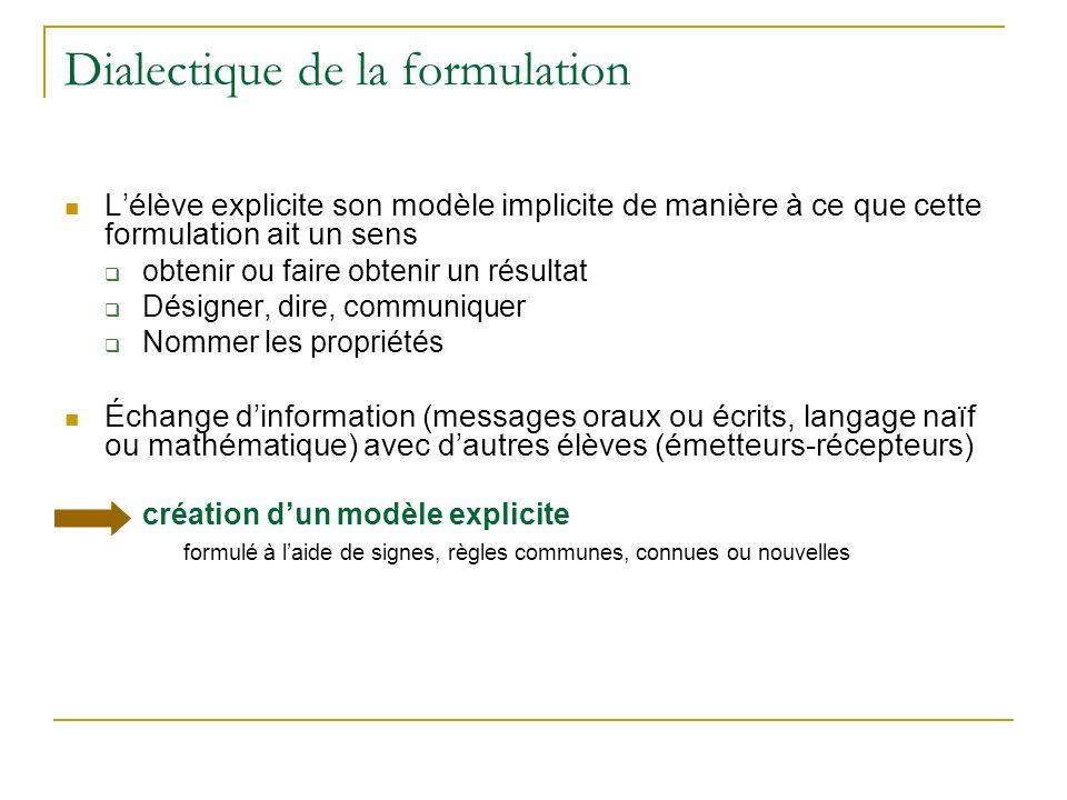 Dialectique de la formulation Lélève explicite son modèle implicite de manière à ce que cette formulation ait un sens obtenir ou faire obtenir un résu