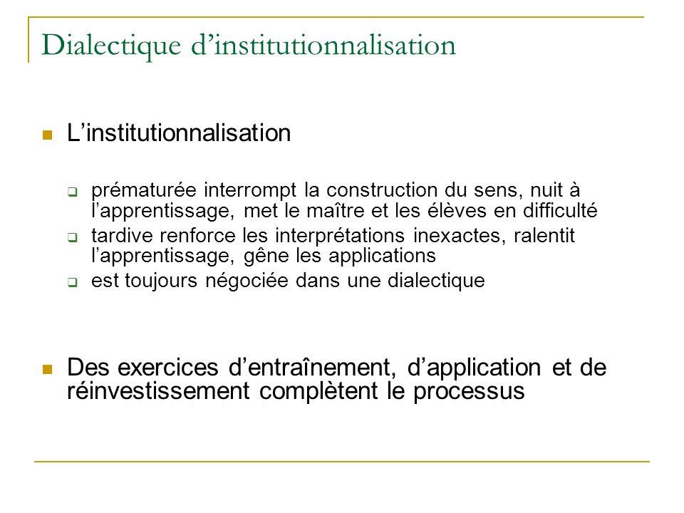 Dialectique dinstitutionnalisation Linstitutionnalisation prématurée interrompt la construction du sens, nuit à lapprentissage, met le maître et les é