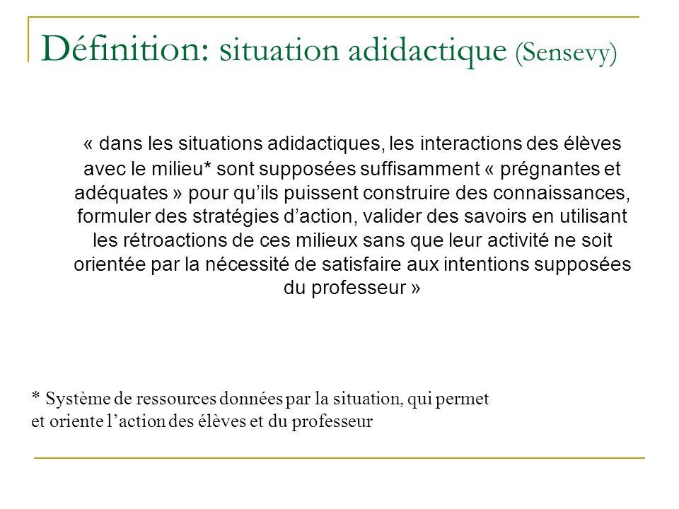 Définition: s ituation adidactique (Sensevy) « dans les situations adidactiques, les interactions des élèves avec le milieu* sont supposées suffisamme