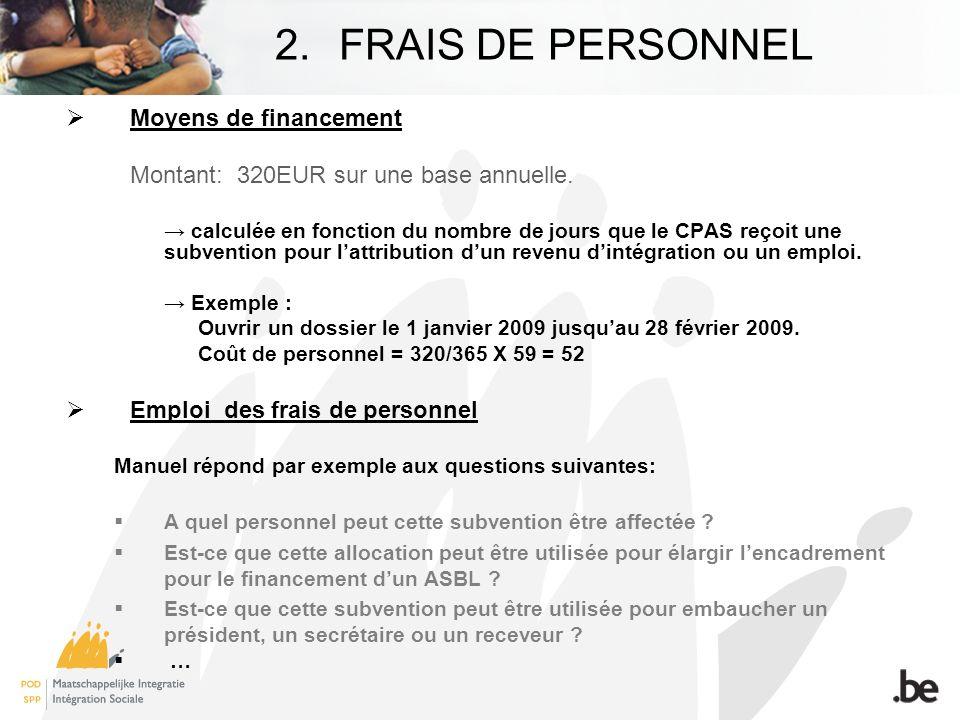2.FRAIS DE PERSONNEL Moyens de financement Montant: 320EUR sur une base annuelle.