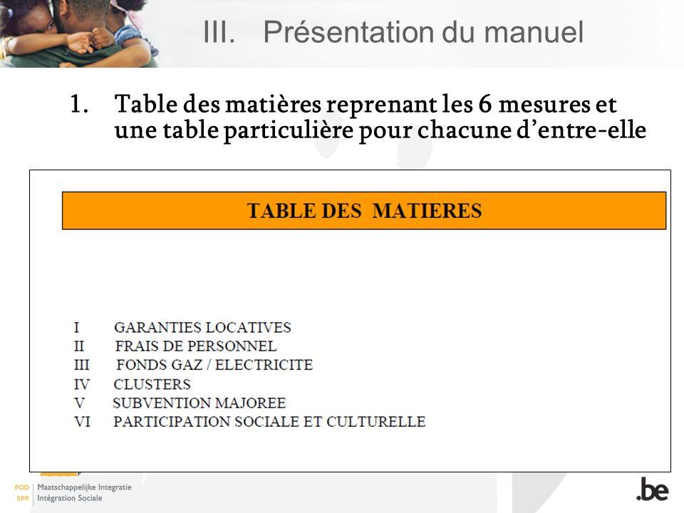 III.Présentation du manuel 1.Table des matières reprenant les 6 mesures et une table particulière pour chacune dentre-elle