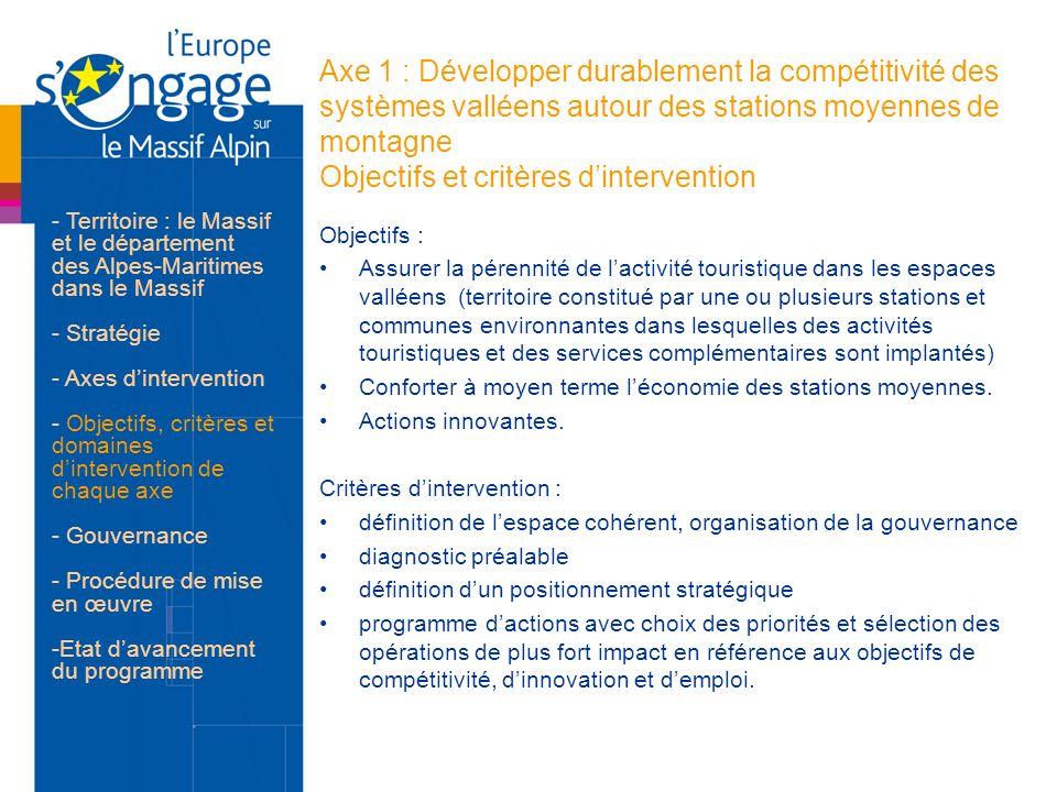 Axe 1 : Développer durablement la compétitivité des systèmes valléens autour des stations moyennes de montagne Objectifs et critères dintervention Obj