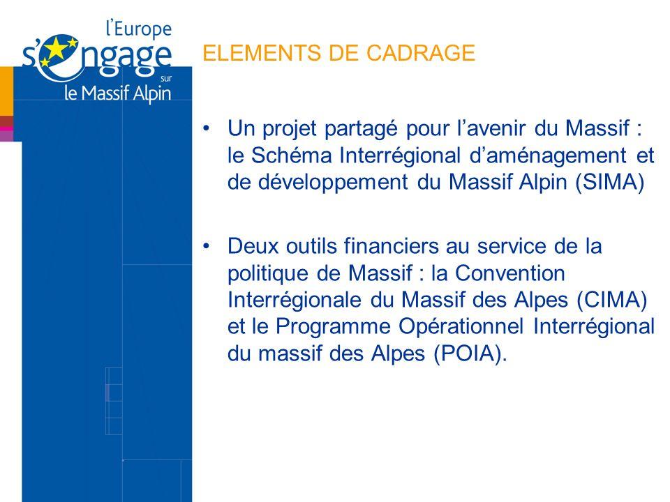 ELEMENTS DE CADRAGE Un projet partagé pour lavenir du Massif : le Schéma Interrégional daménagement et de développement du Massif Alpin (SIMA) Deux ou