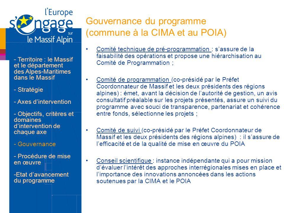 Gouvernance du programme (commune à la CIMA et au POIA) Comité technique de pré-programmation : sassure de la faisabilité des opérations et propose un