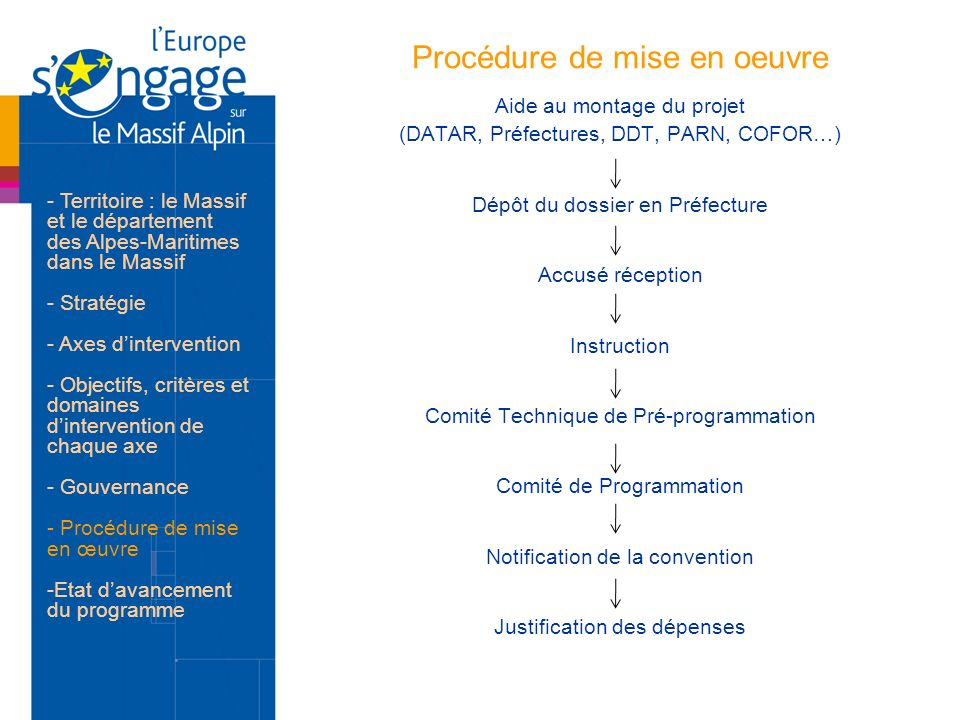 Procédure de mise en oeuvre Aide au montage du projet (DATAR, Préfectures, DDT, PARN, COFOR…) Dépôt du dossier en Préfecture Accusé réception Instruct