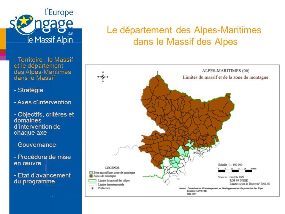 Le département des Alpes-Maritimes dans le Massif des Alpes - Territoire : le Massif et le département des Alpes-Maritimes dans le Massif - Stratégie