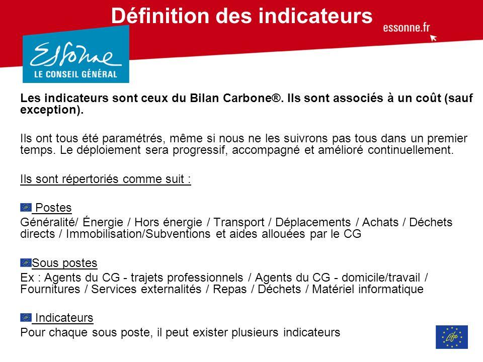 Définition des indicateurs Les indicateurs sont ceux du Bilan Carbone®.