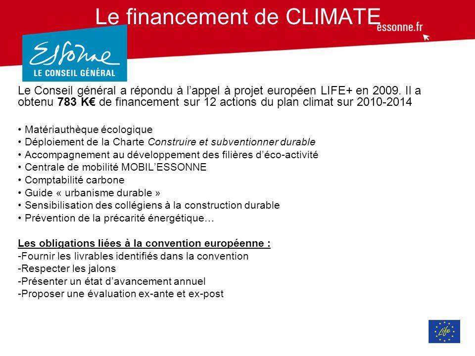 Le financement de CLIMATE Le Conseil général a répondu à lappel à projet européen LIFE+ en 2009.