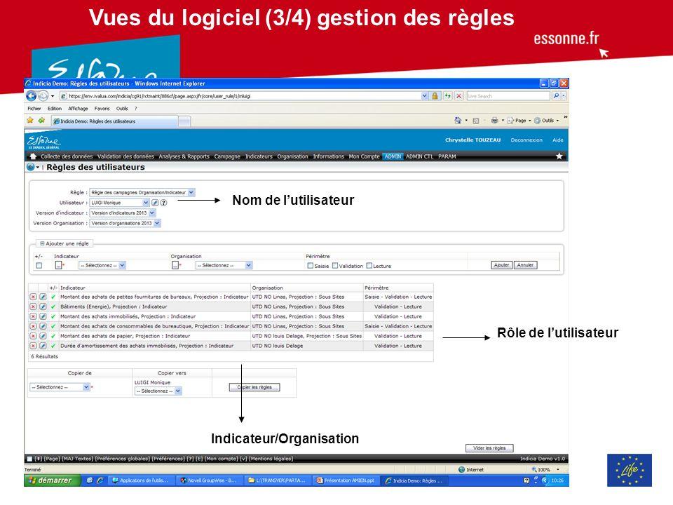 Vues du logiciel (3/4) gestion des règles Nom de lutilisateur Indicateur/Organisation Rôle de lutilisateur