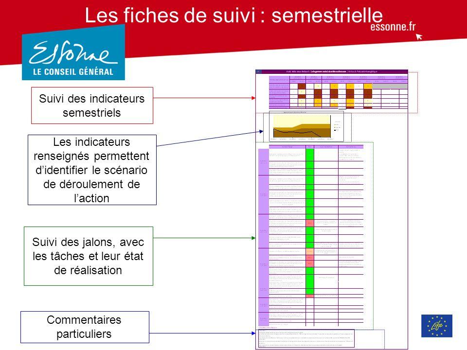 Les indicateurs semestriels Définition en début de projet = 2010, les indicateurs et lestimation des résultats des indicateurs jusquà la fin du projet.