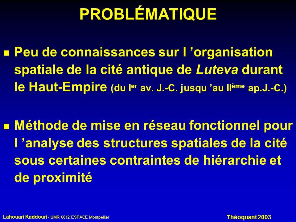 Lahouari Kaddouri - UMR 6012 ESPACE Montpellier Théoquant 2003 PROBLÉMATIQUE n Peu de connaissances sur l organisation spatiale de la cité antique de Luteva durant le Haut-Empire (du I er av.